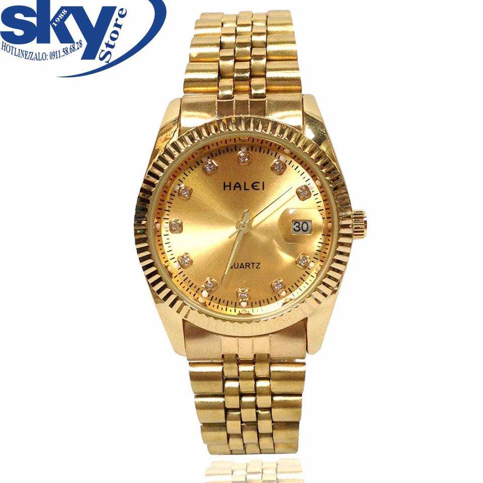 Đồng hồ nam HALEI 4243 (VÀNG) dây thép cao cấp