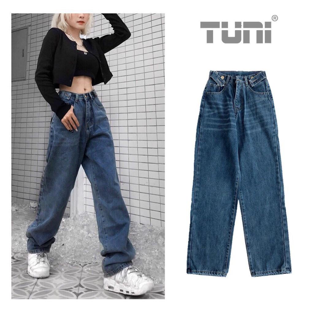 [Mã SKAMCLU9 giảm 10% đơn 100K] Quần Jeans Nữ Ống Rộng Lưng Cao SIMPLE Phong Cách Ulzzang – Tuni Store