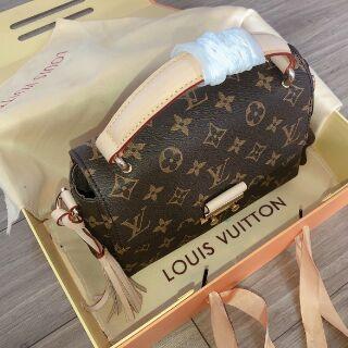 Túi xách nữ túi đeo chéo túi croisette quai xách hoa nâu ô nâu kèm móc tua rua hàng siêu cấp (Full box)