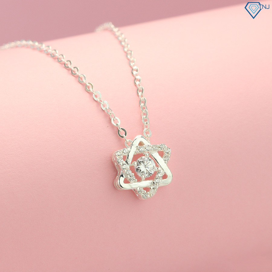 Dây chuyền nữ bạc 925 - Vòng cổ bạc nữ đẹp đính đá DCN0268 - Trang Sức TNJ