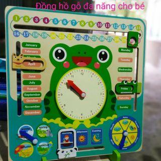 Đồng hồ gỗ đa năng con ếch cho bé