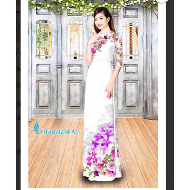 Vải áo dài in hoa lan