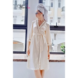 Áo choàng ngủ phi lụa Kimono Wannabe KIS11 dáng dài, viền đăng ren hoa sang trọng quý thumbnail