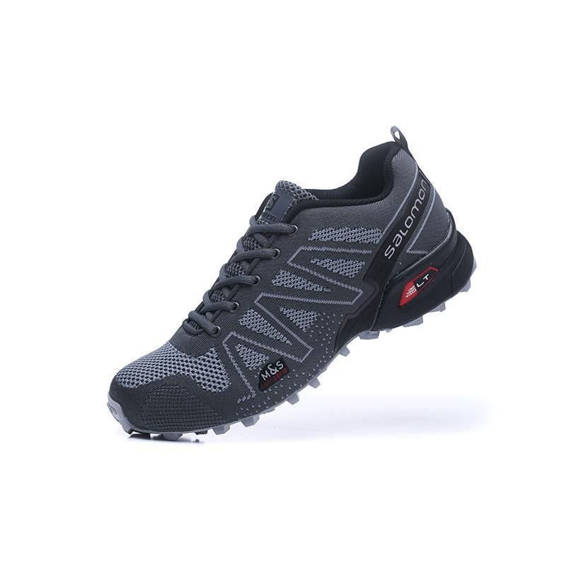 <BR> ชายซาโลมอน 3.5 บินลวดถักรองเท้าบู๊ตสีเทาสีเทา