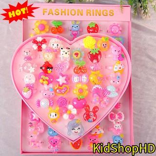 Combo Bộ nhẫn nhựa hình nhật 50 nhẫn cho bé ⭐ Hộp quà trái tim 36 nhẫn nhựa hình bông hoa và von vật siêu cute