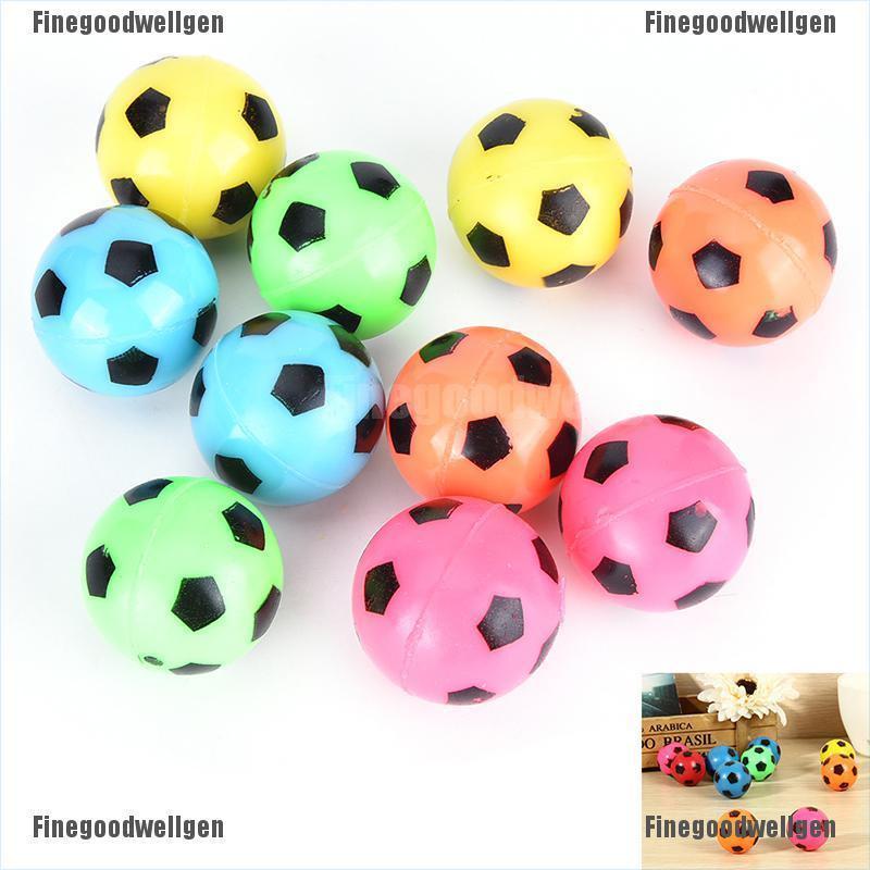 Finegoodwellgen 10 Pcs/set Bouncing Football Ball Rubber Elastic Jumping Soccer Kid Outdoor Toys FGWG
