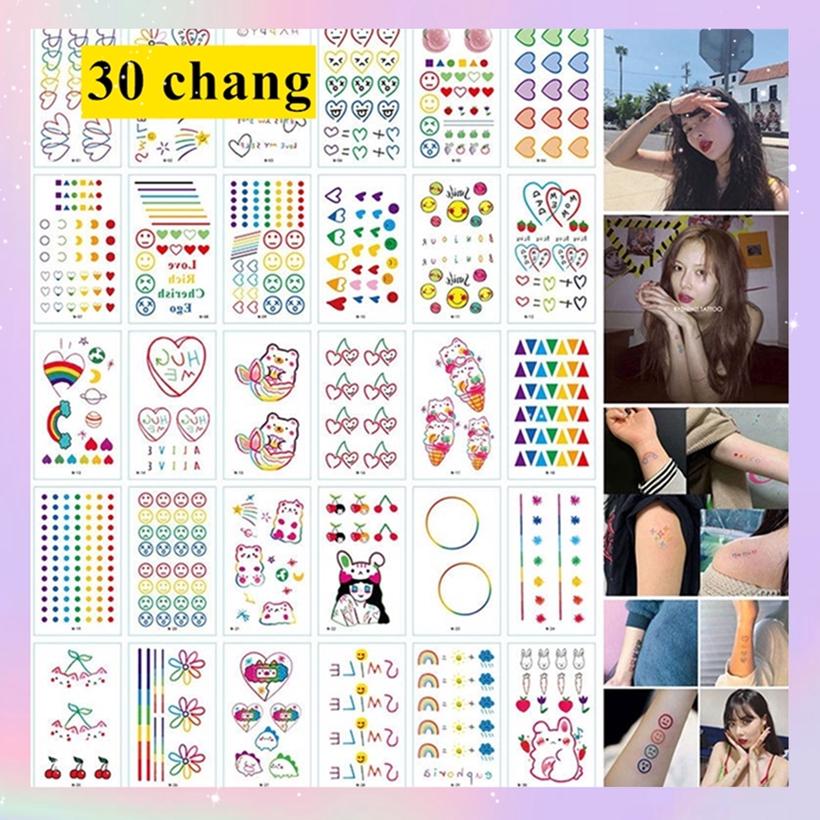 Set 30 hình xăm giả nhiều thiết kế xinh xắn dễ thương cho nữ phong cách Hàn Quốc