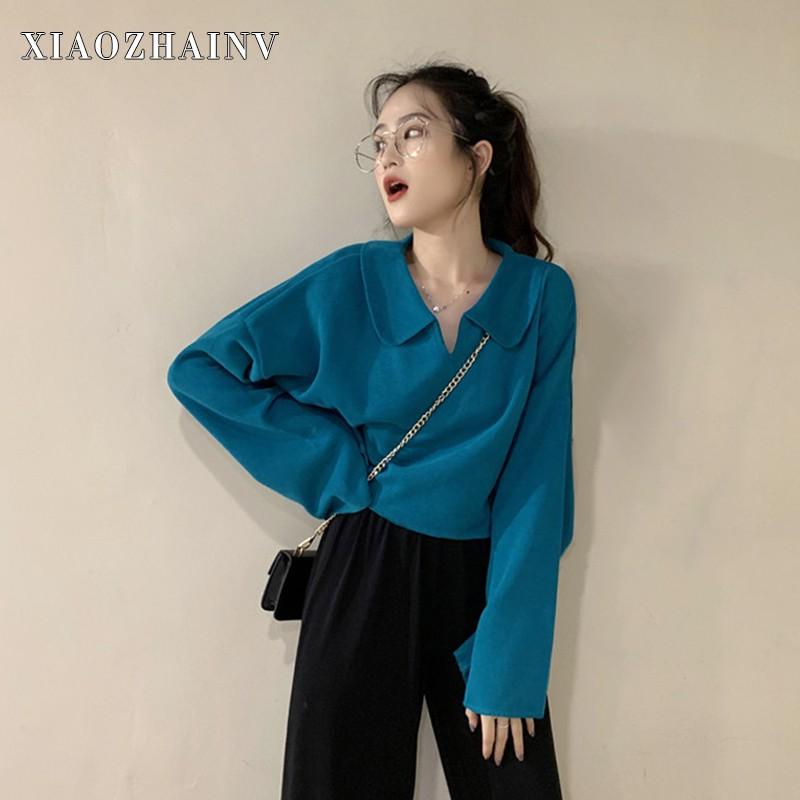 Xiaozhainv Áo nữ dáng rộng tay dài đơn giản phong cách Hàn Quốc 6 màu tuỳ chọn