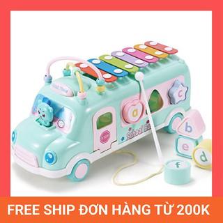 [Freeship] Đồ chơi xe bus thả hình khối kèm đàn pinano cho bé