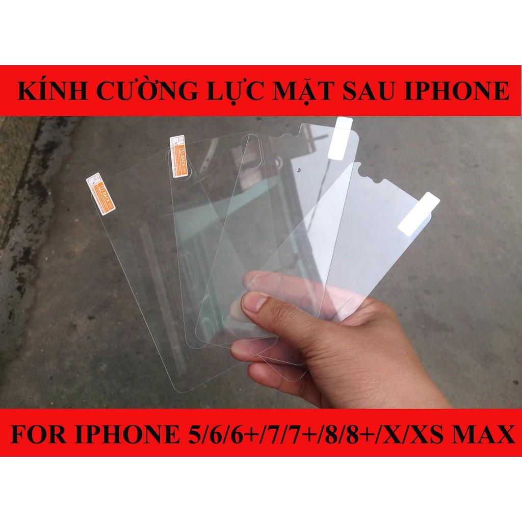 Kính cường lực mặt sau iPhone 5/6/6 Plus/7/7 Plus/8/8 Plus/X/Xs Max
