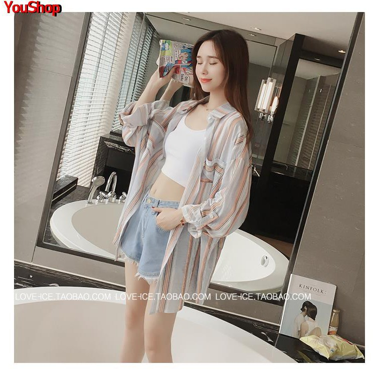 Ins super fire striped shirt female summer new Korean version of thin section loose long section plaid beach sunscreen c