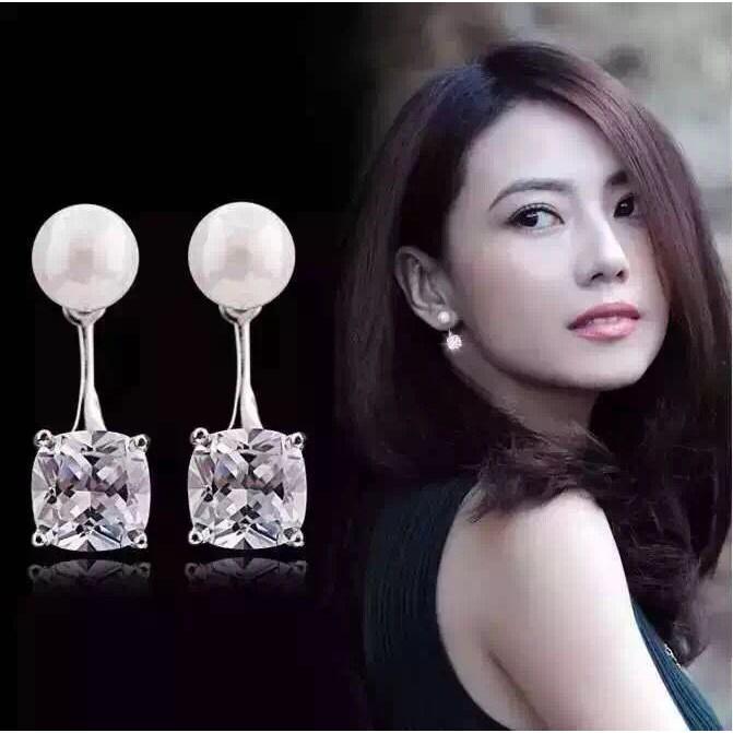 Hoa tai bạc 925 ngọc trai hạt đá thời trang nữ xinh xắn