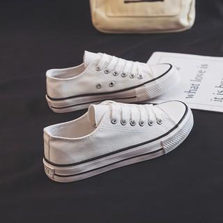 Giày Canvas đế bằng màu trắng thời trang cho nữ