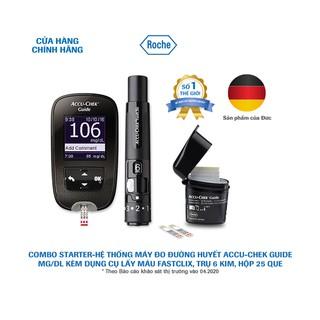 COMBO STARTER-Hệ thống máy đo đường huyết Accu-Chek Guide mg/dL. Kèm Dụng cụ lấy máu Fastclix, trụ 6 kim, hộp 25 que