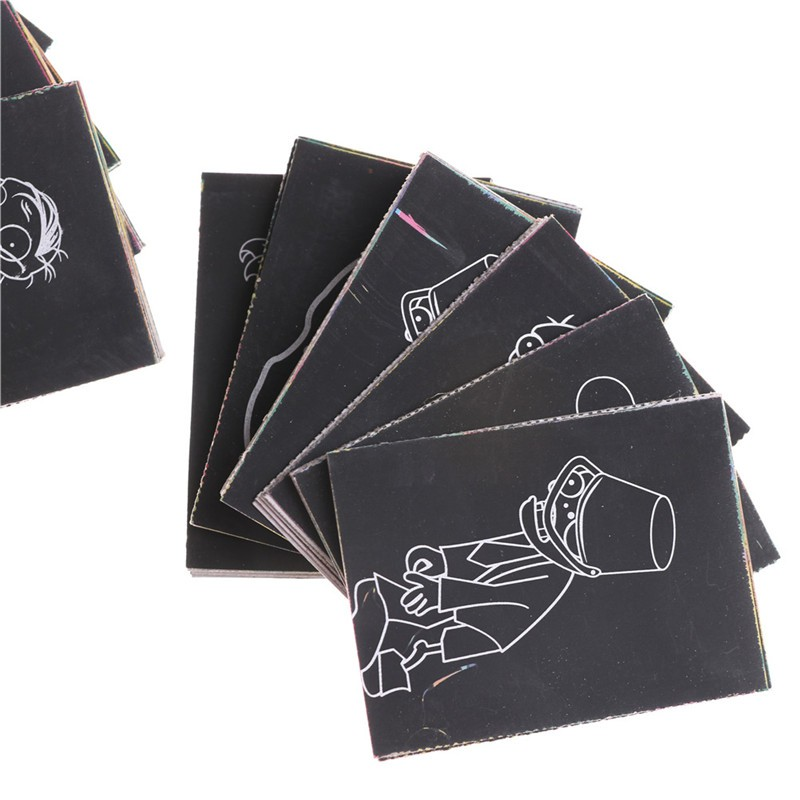 KJ♠ 1pack 8Sheets Kids Painting Scratch Paper Colorful Magic Art With Drawing Stick