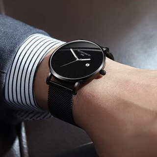 Đồng hồ nam cao cấp ECONOMICXI dây thép lưới đen chạy lịch ngày cao cấp - Dẳng cấp doanh nhận ECO89