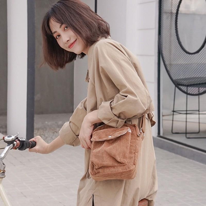 Túi đeo chéo vải nhung gân ( túi nhỏ )