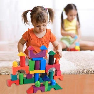 Bộ 112 miếng lắp ráp chơi domino bằng gỗ nhiều màu sắc