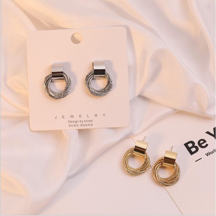 Đôi khuyên tai bạc 925 hình vòng tròn lớn phong cách retro Hàn Quốc cho nữ