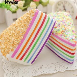 Rainbow Triangle Cake Squeeze Slow Rising Toy Photo Prop Window Display Decor