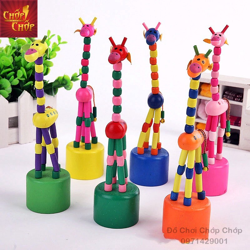 Hươu cao cổ gỗ cho bé, đồ chơi hươu cao cổ bằng gỗ nhún nhảy đáng yêu ngộ nghĩnh nhiều màu
