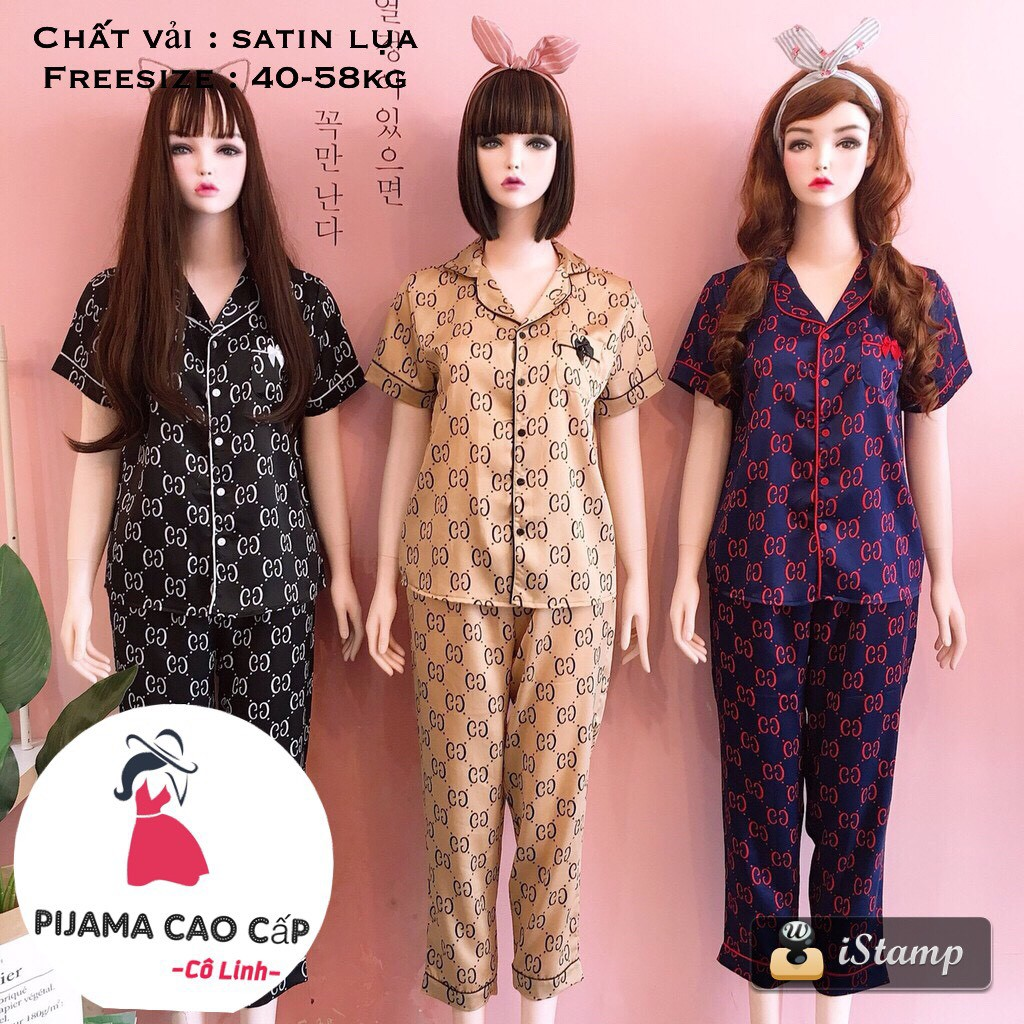 Đồ bộ mặc nhà pijama lụa hoạ tiết sang chảnh nhiều màu ca