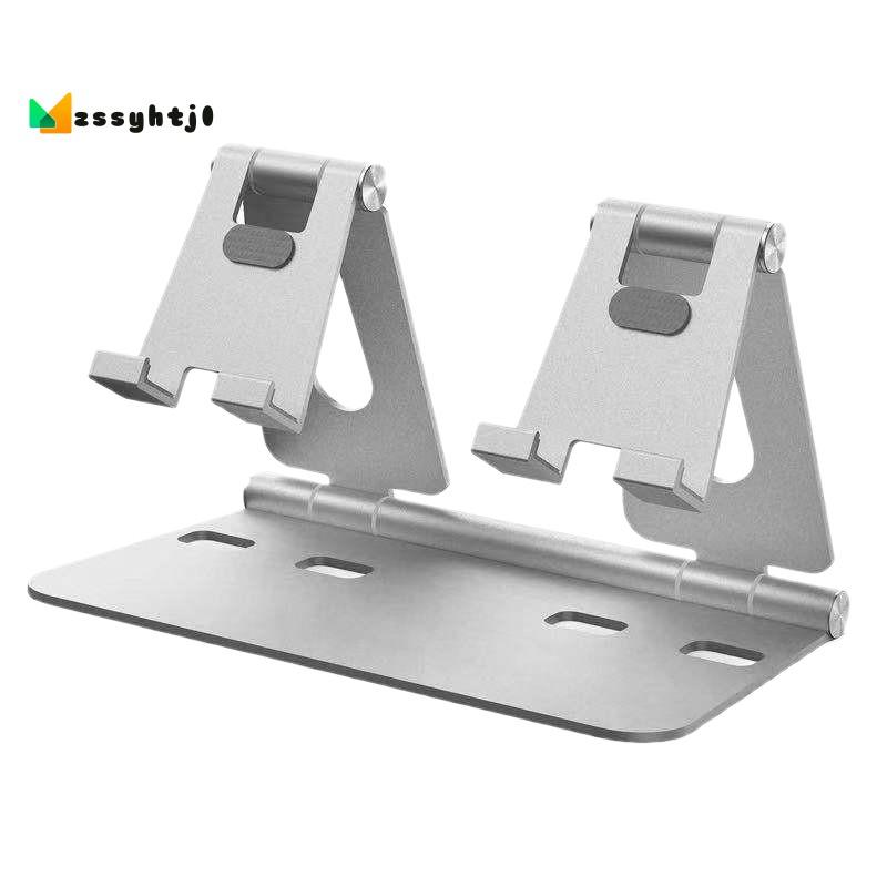 `Aluminum Alloy Multi-Angle Adjustable Universal Mobile Phone Bracket Tablet PC Desktop Bracket Double Bracket Silver