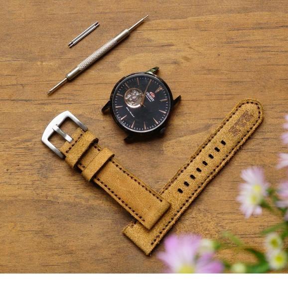 Dây đồng hồ da bò RAM Leather  Classic 1960 cao cấp - tặng khóa chốt và cây thay dây