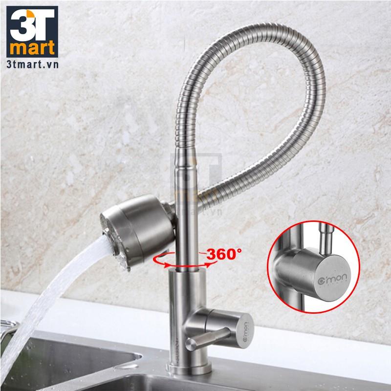 Vòi rửa chén lạnh ống lò xo xoay 360 độ Inox 304 C