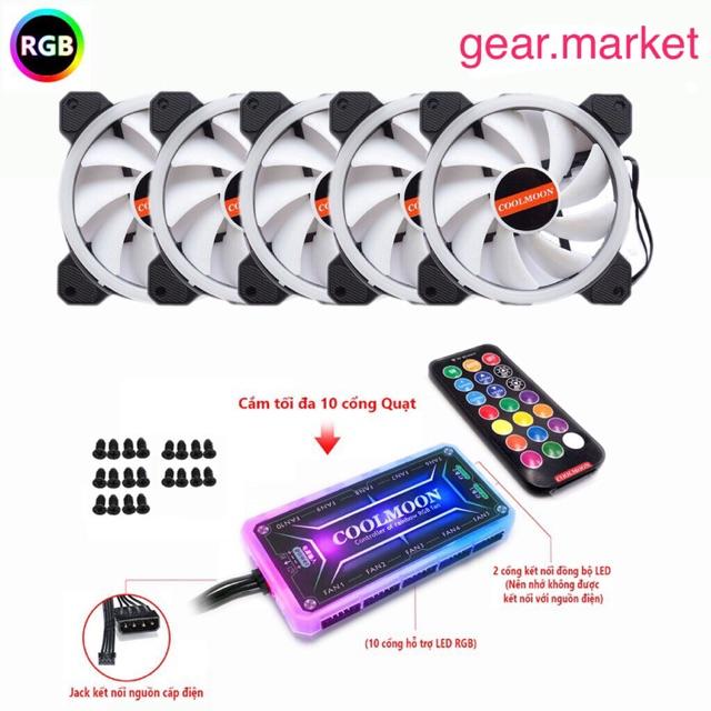 ( Rẻ Vô Địch) Quạt fan led Coolmoon RGB V2 chính hãng ( fan Coolman) kèm bộ điều khiển HUB có led RGB