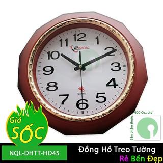 Đồng hồ treo tường kim giật màu nâu đỏ sẫm giả gỗ cực sang trọng - NQL-DHTT-HD45