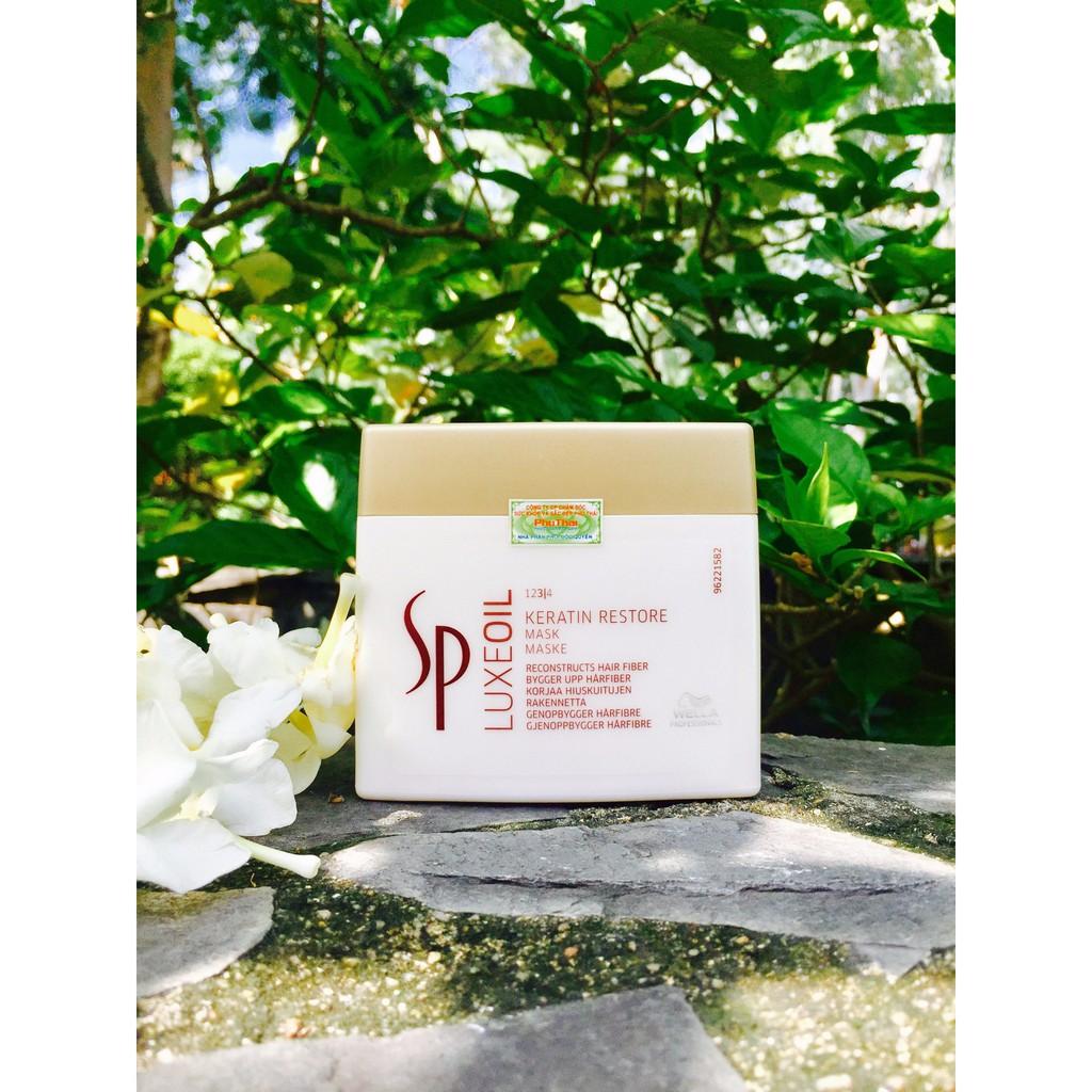 $$cam_kết_chính_hãng_100% Mặt nạ ủ tóc cao cấp Sp Luxe Oil Keratin Restore Mask chăm sóc tóc hư tổn Wella