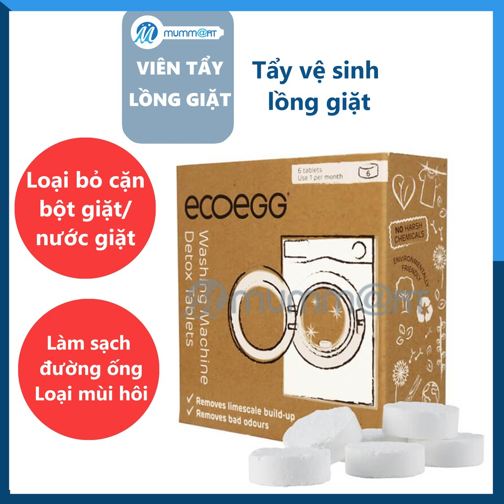 Viên tẩy lồng giặt, vệ sinh lồng máy giặt cho cửa trên và cửa trước Ecoegg  nhập khẩu Anh, hộp 6 viên | VS_TECO_006 giá cạnh tranh