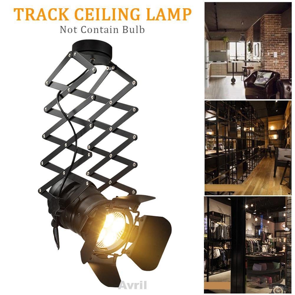 E27 Telescopic Retro Industrial Exhibition Hall Iron Art Bar Indoor Hotel Adjustable Living Room Track Ceiling Lamp