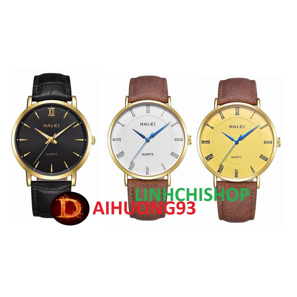 Đồng hồ nam Halei chống nước dây da cực chất (có size nữ)