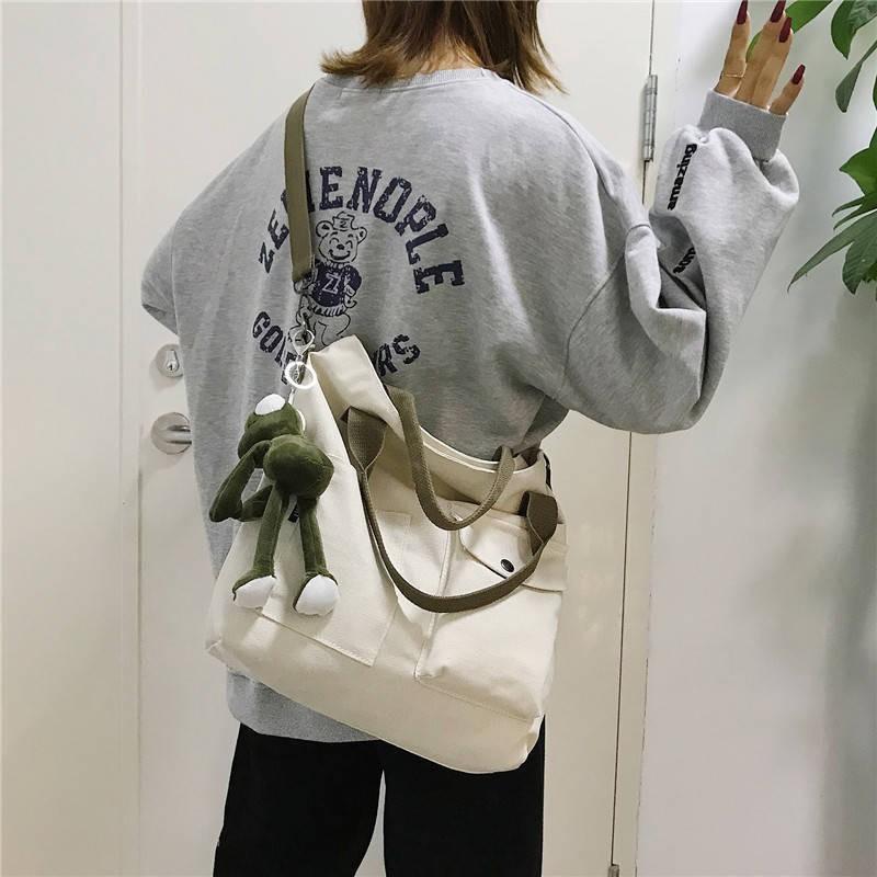กระเป๋าหญิง 2019 ใหม่เกาหลี ins ลมผ้าใบกระเป๋า messenger ของเพศหญิงที่เรียบง่ายเกาหลี