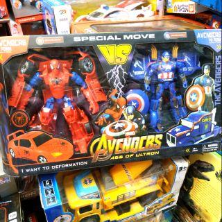 Bộ đồ chơi Robot biến hình người nhện & đội trưởng mỹ