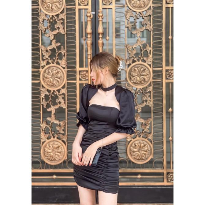 Mặc gì đẹp: Sang chảnh với Đầm dự tiệc ôm body nhún tay phồng Evia Dress