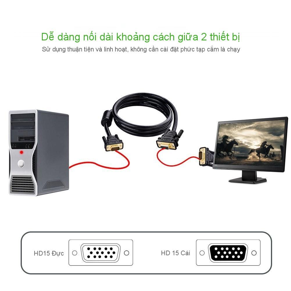 Dây nối dài VGA Đực sang Cái 3+6 OD8.0MM UGREEN VG103