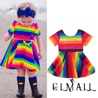 ➤GMLKids Baby Girls Short Sleeve Dress Rainbow Printed Bowknot Dress Set