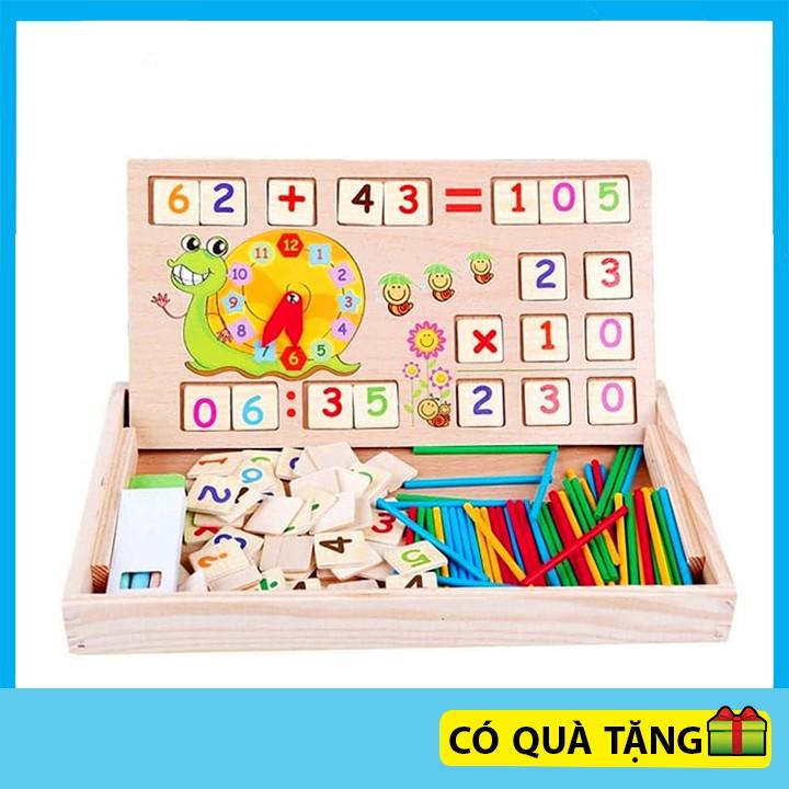 Đồ chơi gỗ bộ học toán đa năng kèm que tính cho bé phát triển trí tuệ thông minh