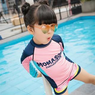 Đồ bơi bé gái tay dài quần đùi MOMASONG tặng kèm nón bơi