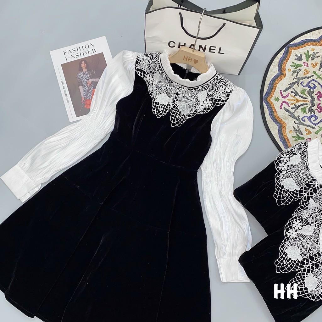 V884 Váy Nhung Pha Cổ Ren Sang Trọng, Đầm Dự Tiệc Dài Tay Vải Voan Mỏng Nhẹ