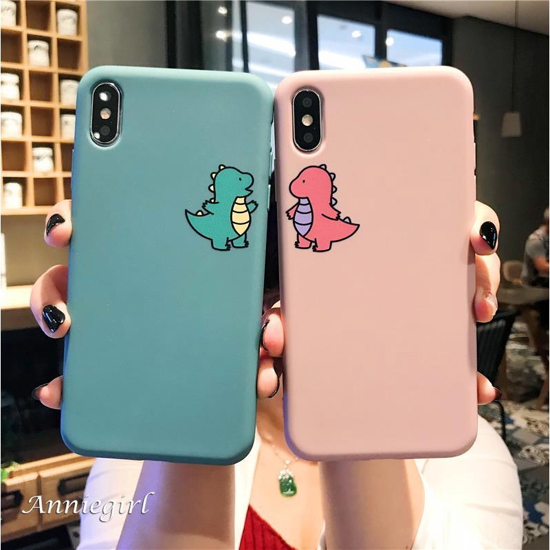 Funny Couple Dinosaur Candy Color Soft TPU Silicone Matte Case for IPhone 11 Pro Max XR Xs Max 6s 8 7 Plus