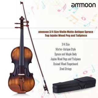 Tsm★ammoon 3/4 Size Violin Matte-Antique Spruce Top Jujube Wood Parts(Peg and Ta