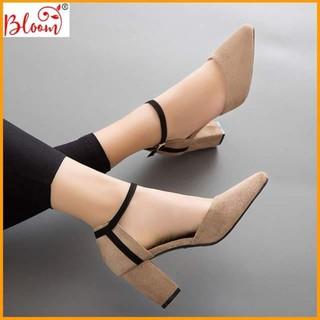 Sandal cao gót nữ 7p đế vuông bít mũi da lộn công sở cao cấp Giày Sandal nữ cao gót Tặng quà ngẫu nhiên BG01