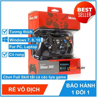 Tay cầm Chơi Game Xbox 360 có dây full box - Tay cầm chơi game PC, Laptop cực tối ưu, chơi full skill FO4, FO3 thumbnail