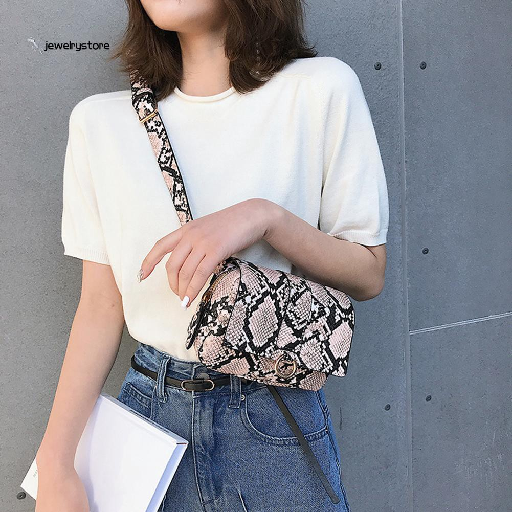 【JEW】Snakeskin Print Metal Ring Women Square Crossbody Chest Bag Waist Fanny Pack