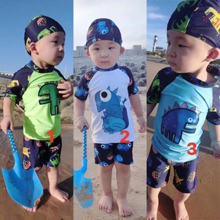 Bộ đồ bơi khủng long dễ thương đi biển kèm mũ bơi cho bé