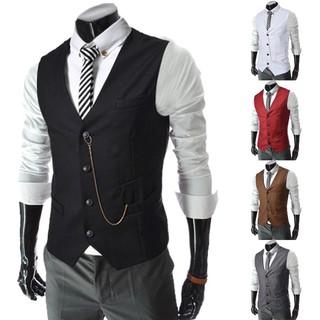 Men's Men's Metal Chain Decoration Slim Business Casual Vest 8671